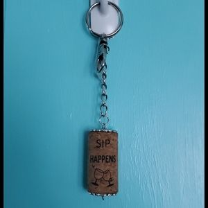 "Cork ""Sip Happens"" Key Chain"
